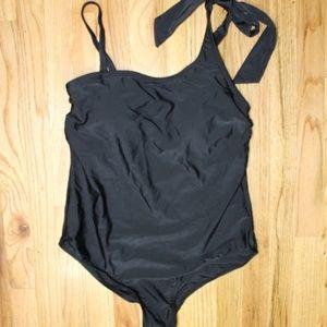 Merona Black Tie Strap One Piece Swim Suit 16W NWT